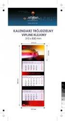 Kalendarz trójdzielny VIP LINE klejony - główka - karton Alaska 250 g, foliowana błysk, całość 310 x 830 mm, druk pełnokolorowy, 3 oddzielne kalendaria 290 x 145 mm, okienko - 250 sztuk