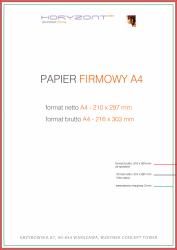 papier firmowy A4, druk pełnokolorowy obustronny 4+4, na papierze offset / preprint 90 g - 500 sztuk