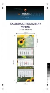 Kalendarz trójdzielny spiralowany VIP LINE z wypukłą główką, druk (4+0) Karton Alaska 250 g, Folia błysk jednostronnie, 310 x 830 mm, Spiralowany, 3 bloki - 100 szt. ! Cena promocyjna