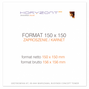zaproszenie 150 x 150 mm, druk dwustronny, kreda 350 g, bez folii 200 sztuk