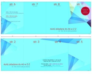 szablon projektu 4 x A6 do A6 (420 x 148 mm do 105 x 148 mm) - do pobrania bezpłatnie