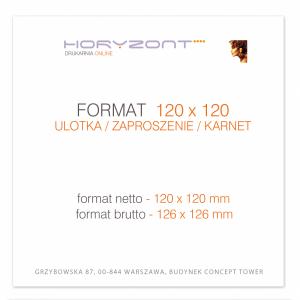 ulotka 120 x 120 mm, druk pełnokolorowy obustronny 4+4, na papierze kredowym, 130 g, 5000 sztuk