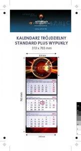 Kalendarz trójdzielny wypukły STANDARD PLUS -  Karton Alaska 250g, Folia błysk jednostronnie - całość 310 x 765 mm, całość 4+0, z doklejką reklamową pod kalendarium, 3 bloki - 25 sztuk ! Cena promocyjna