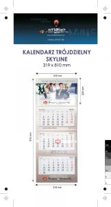 Kalendarz trójdzielny SKYLINE, z wypukłą główką, bez koperty, druk jednostronny kolorowy (4+0), główka kaszerowana + folia błysk, podkład z lakierem dyspersyjnym, główka - kreda mat 300 g, podkład - karton 300 g, 3 bloki kalendarium, okienko - 800 szt.