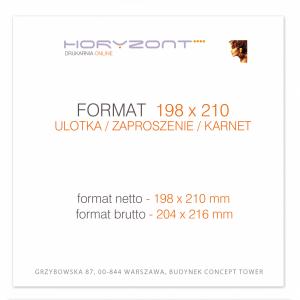ulotka 198 x 210 mm, druk pełnokolorowy obustronny 4+4, na papierze kredowym, 250 g, 5000 sztuk