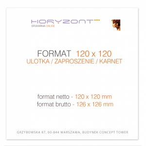 ulotka 120 x 120 mm, druk pełnokolorowy obustronny 4+4, na papierze kredowym, 250 g, 50 sztuk