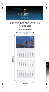 Kalendarz trójdzielny SUPER HIT - całość na Kartonie Alaska 250 g, 310 x 690 mm, Druk jednostronny kolorowy 4+0 CMYK, 3 oddzielne kalendaria, 290 x 145 mm, czerwono - czarne, okienko osobno - 800 sztuk