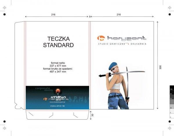 teczka standard, 337 x 477 mm, druk pełnokolorowy jednostronny 4+0, bez folii, kreda 350 g, 100 sztuk