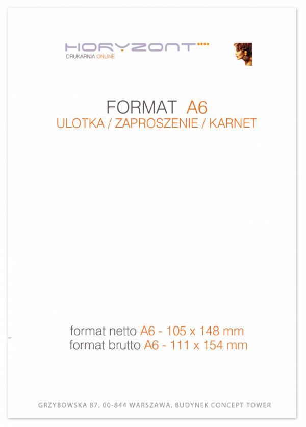 ulotka A6, druk pełnokolorowy obustronny 4+4, na papierze kredowym, 130 g, 2500 sztuk