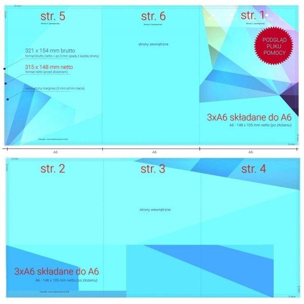 szablon projektu 3 x A6 do A6 (315 x 148 mm do 105 x 148 mm) - do pobrania bezpłatnie