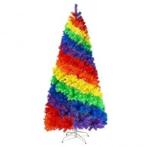 Sztuczna choinka świąteczna tęczowa 210cm