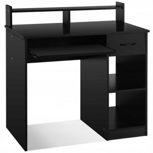 Biurko komputerowe z nadstawką czarne