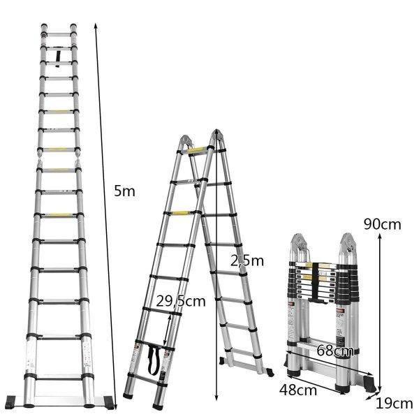 Drabina teleskopowa prosta i składana 2w1
