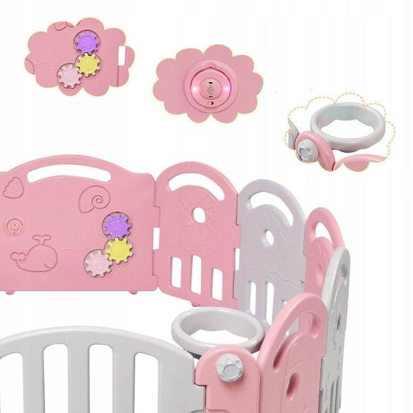 Składany kojec dla dzieci z bramką bezpieczeństwa - różowy