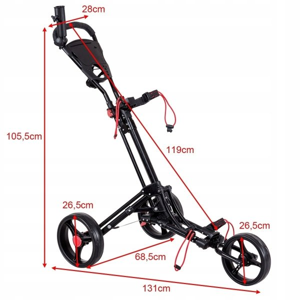 Składany wózek golfowy 3-kołowy