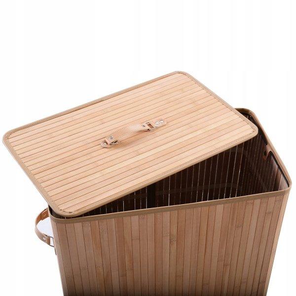 Kosz bambusowy na pranie podwójny