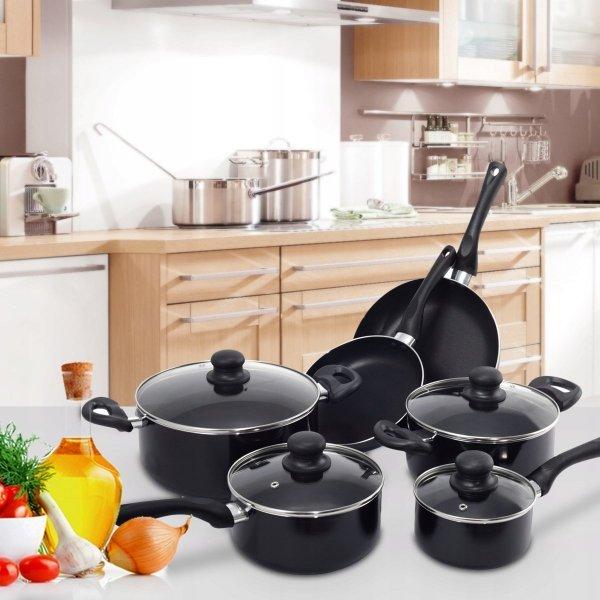 16-elementowy zestaw do gotowania patelnie garnki i przybory