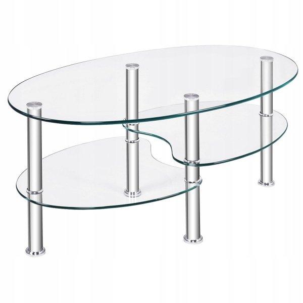 Szklany owalny stolik z 2 półkami