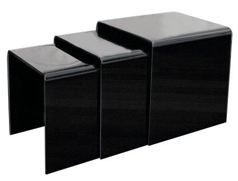 Zestaw stolików szklanych PRIAM TRIO czarny - szkło lakierowane