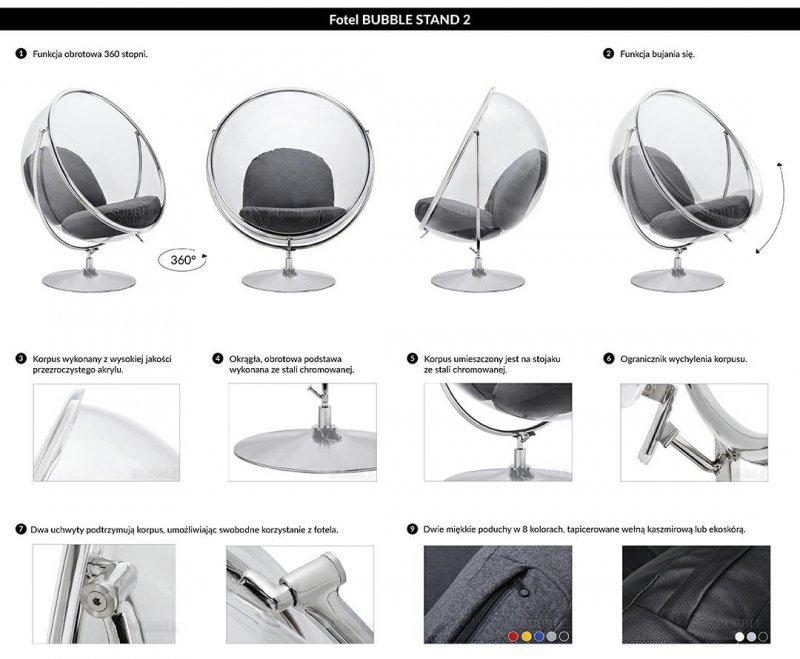 Fotel BUBBLE STAND 2 poduszka atramentowa - akryl, chrom, wełna