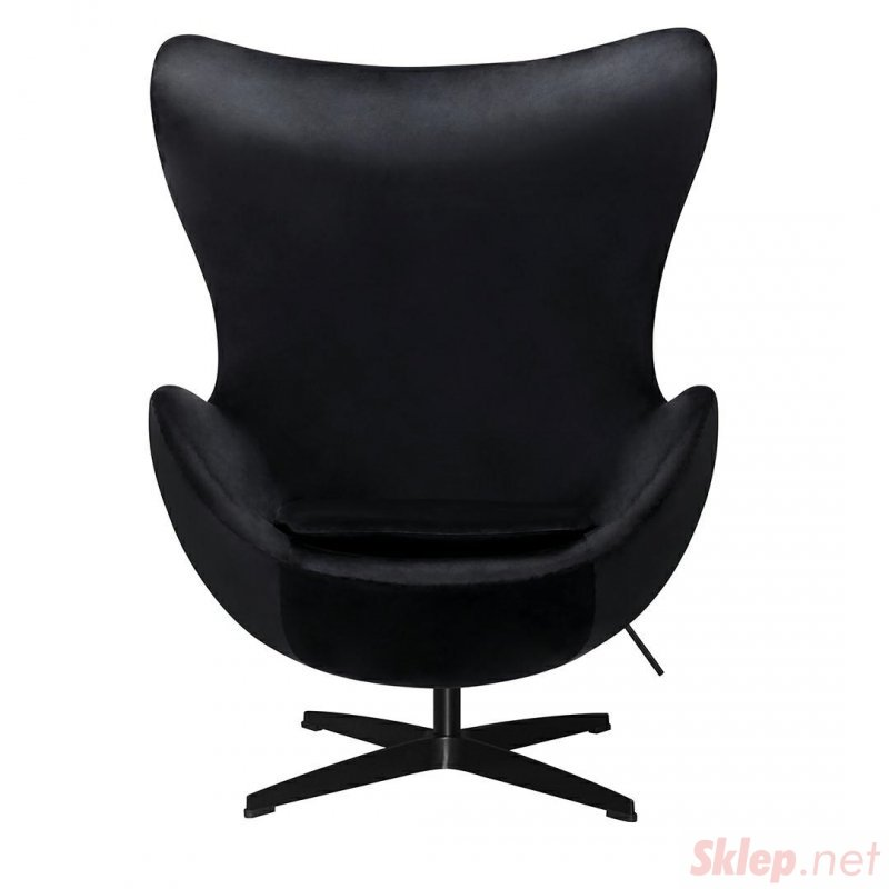 Fotel EGG CLASSIC VELVET BLACK czarny - welur, podstawa czarna