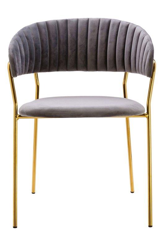 Krzesło MARGO jasny szary - welur, podstawa złota