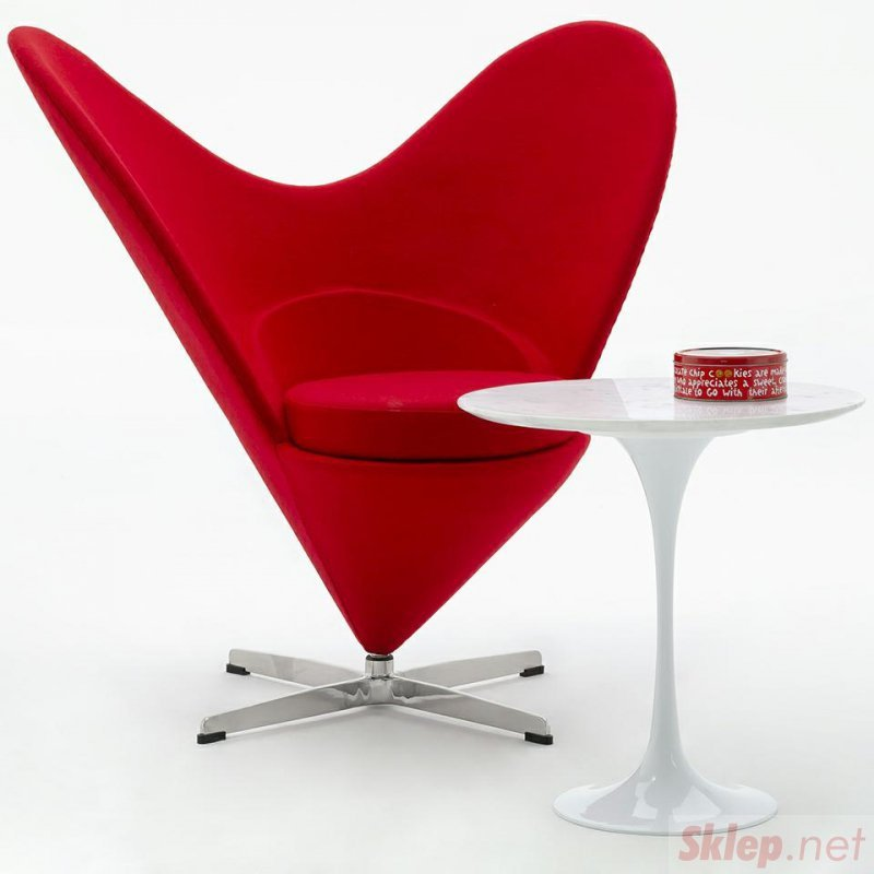 Fotel SERCE czerwony - włókno szklane, wełna, podstawa aluminiowa