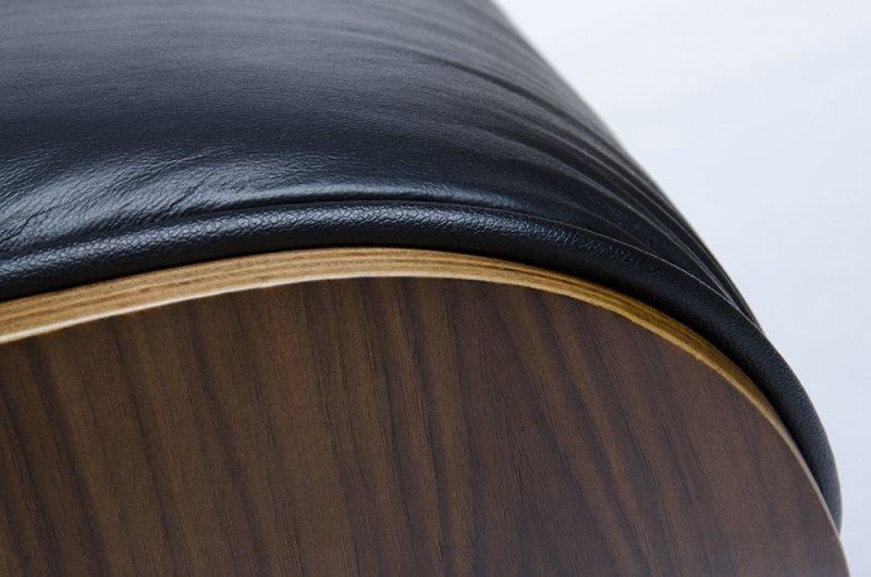 Fotel LOUNGE czarny, sklejka orzech - skóra naturalna