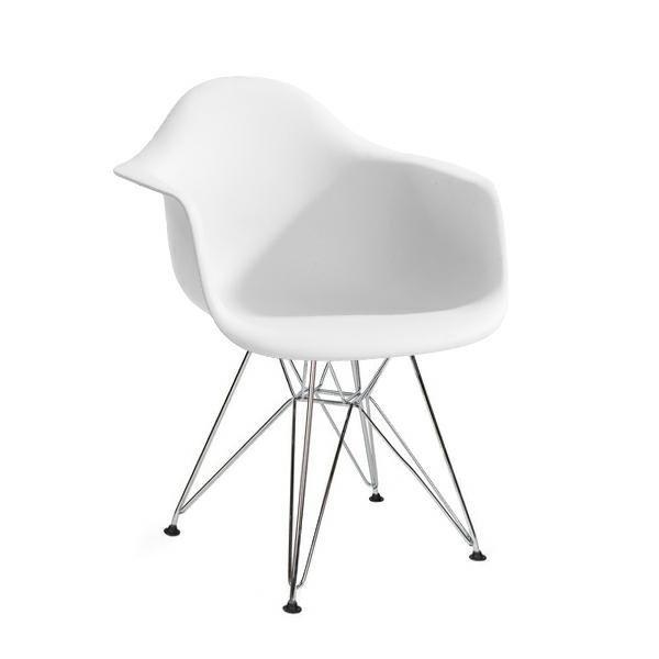 Fotel DAR SILVER biały.01 - polipropylen, podstawa chromowana