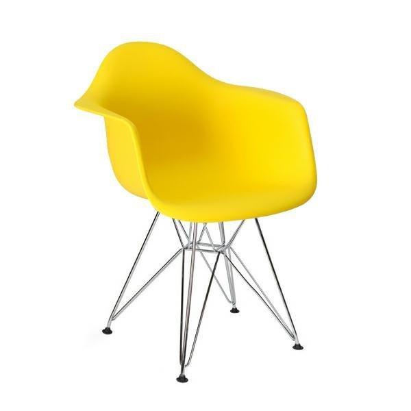 Fotel DAR SILVER słoneczny żółty.09 - polipropylen, podstawa chromowana