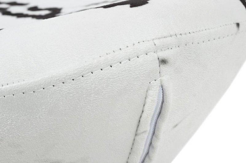 Fotel EGG SZEROKI MARBLE z podnóżkiem - tkanina, podstawa stal