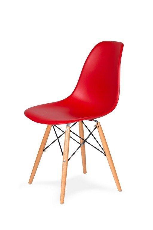 Krzesło DSW WOOD krwista czerwień.06 - polipropylen, podstawa bukowa