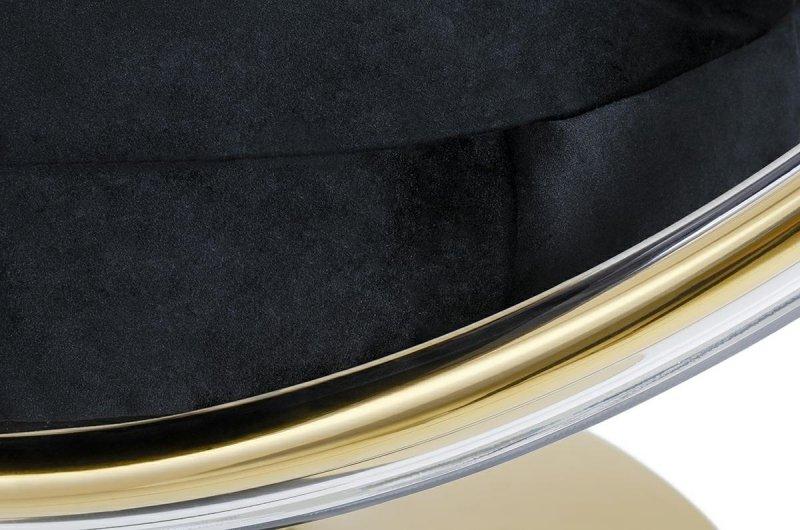 Fotel BUBBLE STAND GOLD poduszka czarna - podstawa złota, korpus akryl, poduszka welur