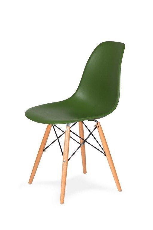 Krzesło DSW WOOD butelkowa zieleń.27 - podstawa drewniana bukowa