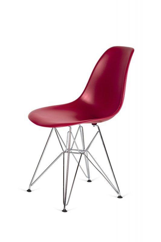 Krzesło DSR SILVER bordowy.36 - podstawa metalowa chromowana