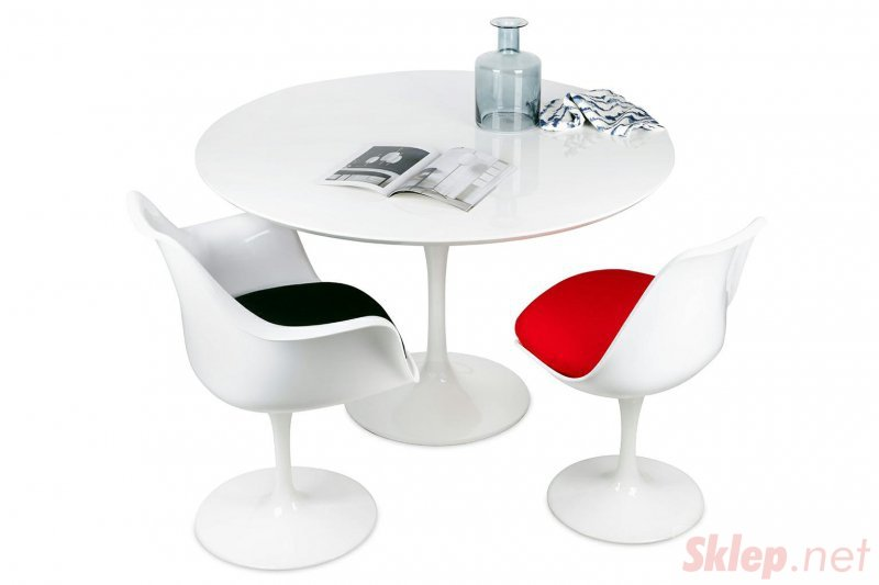 Krzesło TULIP białe z czerwoną poduszką - ABS, podstawa metalowa