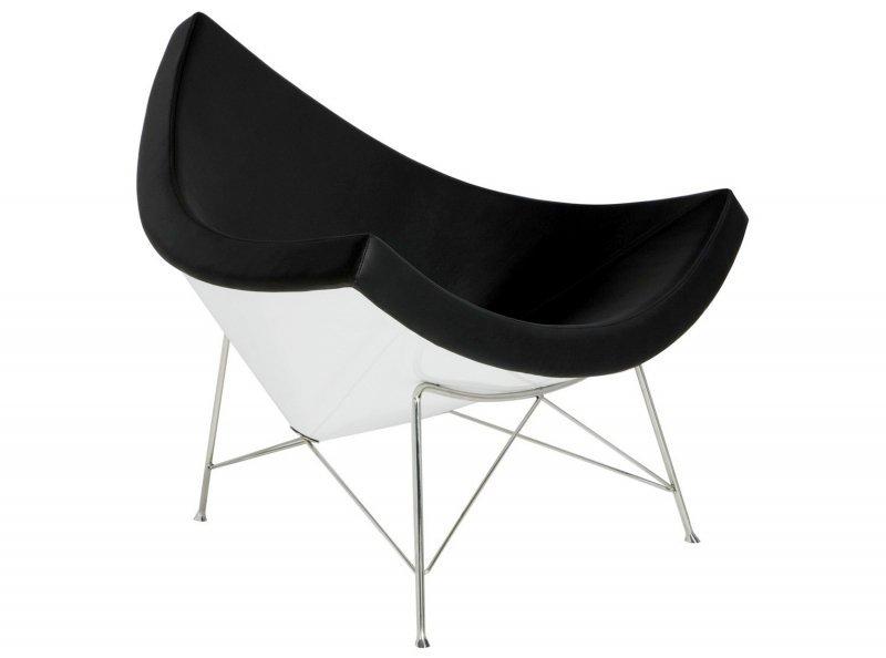 Fotel COCONUT biało-czarny - skóra naturalna, włókno szklane