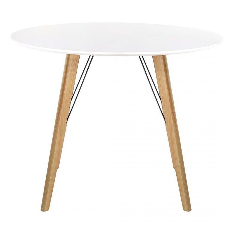 Stół LARSON FI 100 biały - blat MDF, nogi dębowe