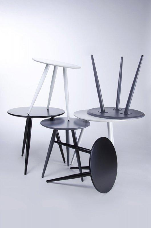 Zestaw stolików LEO szare - MDF, metal