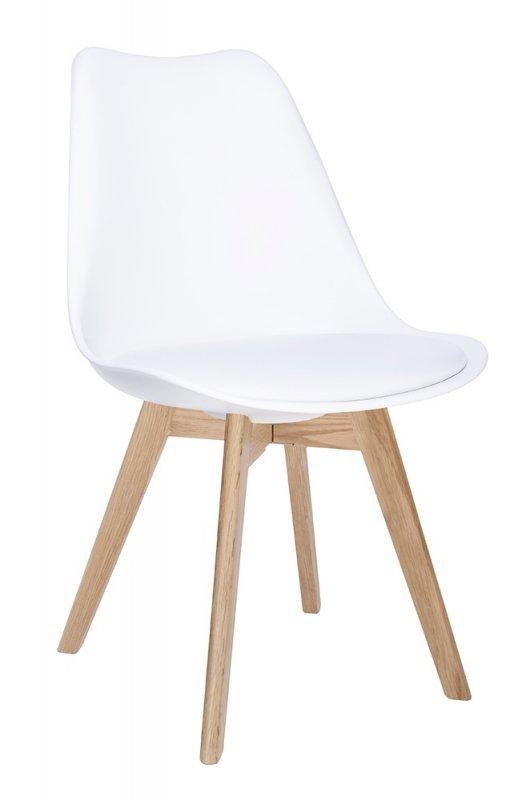 Krzesło NORDIC PREMIUM białe - podstawa dębowa, poduszka z ekoskóry