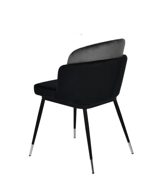 Krzesło MARCEL czarno szare - welur, podstawa czarno-srebrna