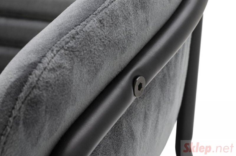Krzesło NAOMI ciemny szary - welur, podstawa czarna