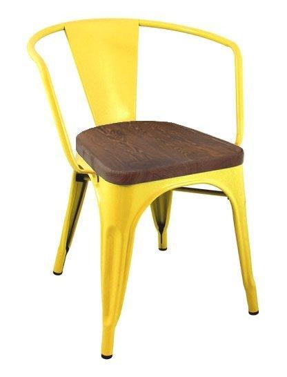 Krzesło TOWER ARM WOOD żółte - sosna antyczna, metal