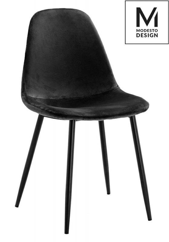 MODESTO krzesło LUCY czarne - welur, metal