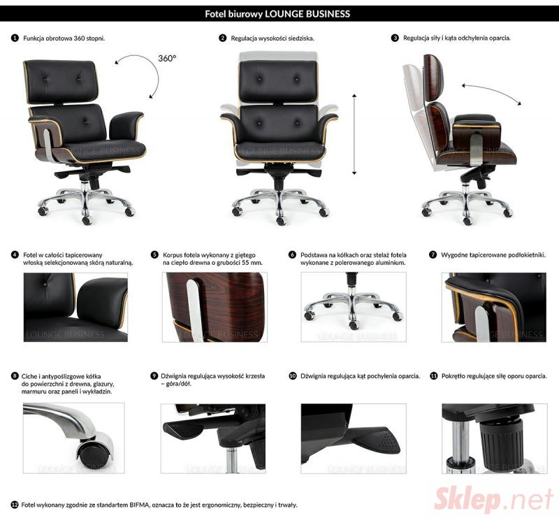 Fotel biurowy LOUNGE BUSINESS czarny - sklejka jesion, skóra naturalna, stal polerowana
