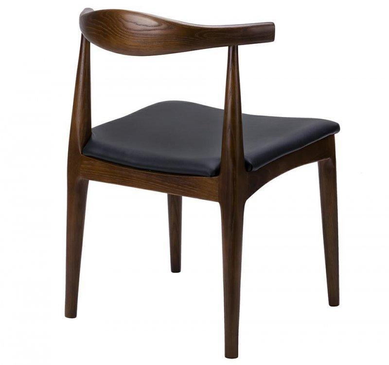 Krzesło ELBOW ciemnobrązowe - drewno jesion, ekoskóra czarna