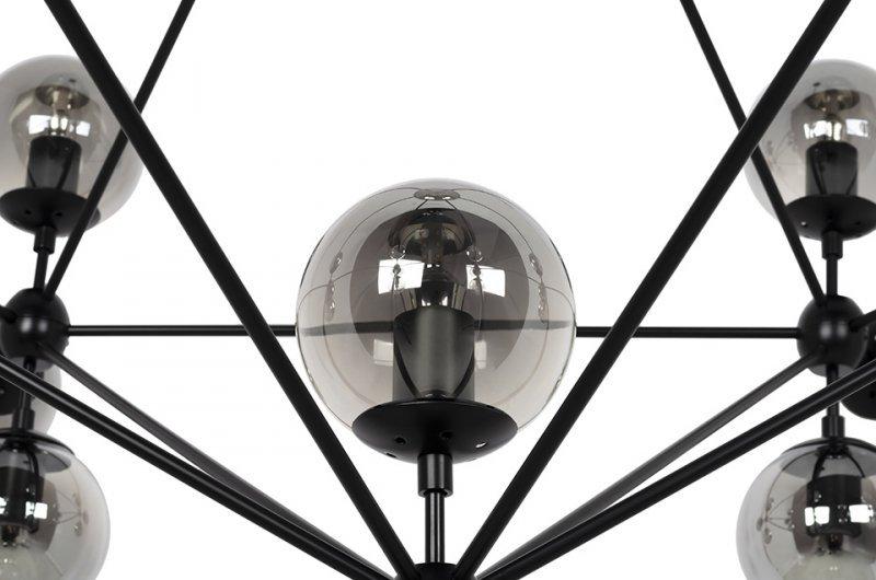 Lampa wisząca PLANETARIO 21 czarna - klosze dymione