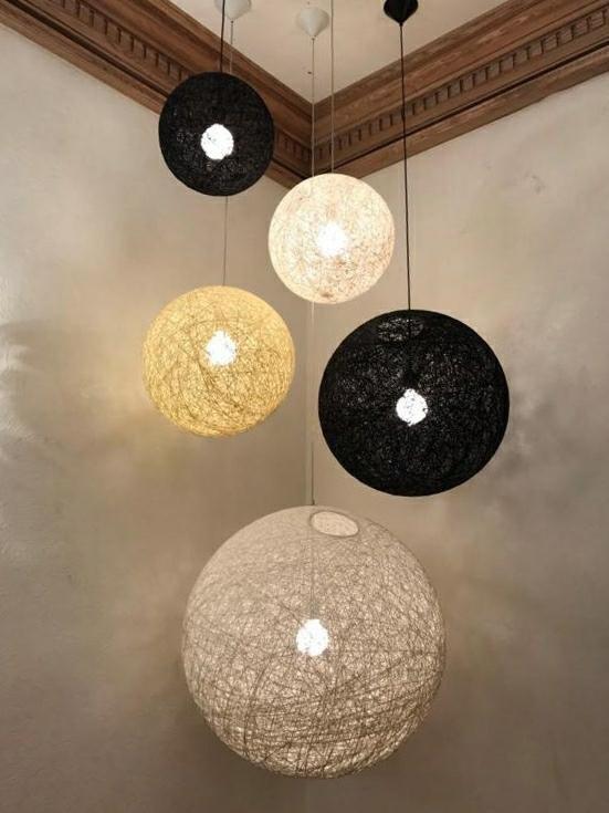 Lampa wisząca LUNA 40 czarna - sznurek konopny