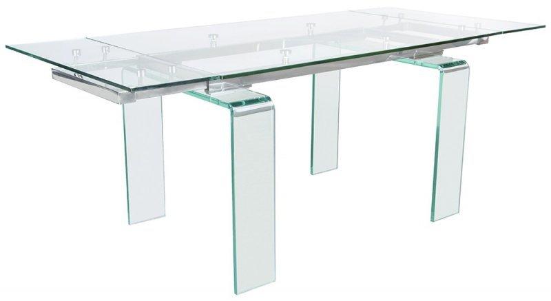 Stół szklany ATLANTIS CLEAR 200/300 - rozkładany, szkło transparentne