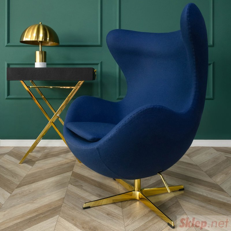 Fotel EGG CLASSIC BLACK marchewkowy.38 - wełna, podstawa czarna